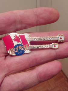 RARE 1995 HARD ROCK CAFE TORONTO CANADA DOUBLE GUITAR PIN