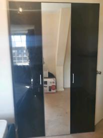 Black 3 door wardrobe