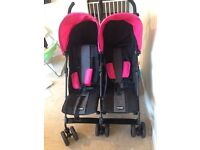 Obaby pink and black double pram