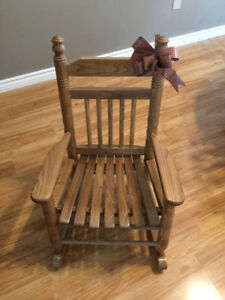 Child's solid oak rocking chair