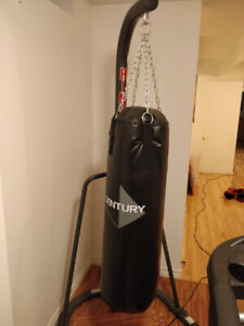 Stand up punching bag with gloves
