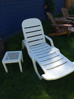 White lounge chair and table