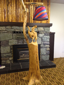 Hand carved 'Cowboy' floor lamp