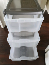 Three plastic drawers silver