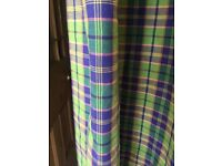 2 bright check curtains mainly lime green