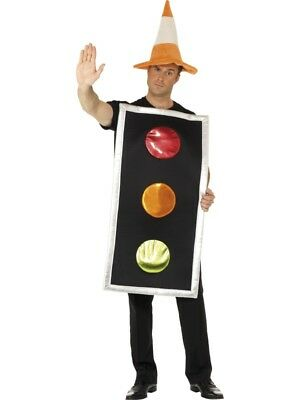 Traffic Light Costume + Cone Hat Funny Fancy Dress Mens Ladies Stag Do Outfit](Traffic Light Costume)