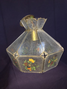 Antique kitchen light fixture (with handpainted flowers!)