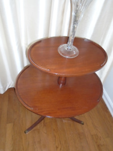 MID CENTURY Wood 2 Tier Round Federal Table Dumbwaiter End Table