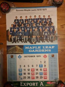 1970-71 NHL EXPORT CALENDAR Toronto Maple Leafs Gardens