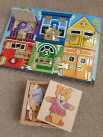 Wooden shape sorters and puzzles