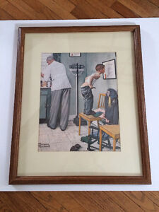 """NEW PRICE - Norman Rockwell Framed Art - """"Before the Shot"""""""