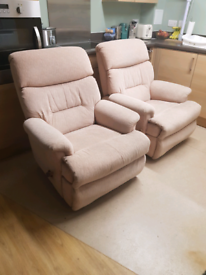 Matching Pair of recline and swivel arm chairs