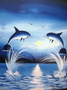 """Blue Dolphins,  16""""x12"""""""