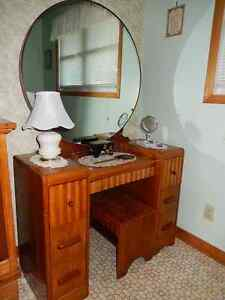 vintage vanity with mirror and matching bench