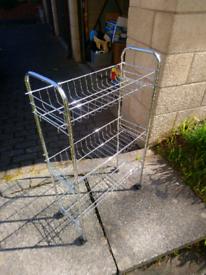 Kitchen / Bathroom Metal shelving unit on wheels £5