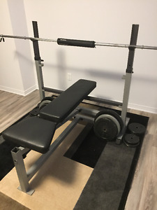 Workout bench with barbells(+weights)/attachments for sale