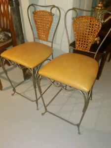 2 Leather and Wicker Stools Tall Chairs
