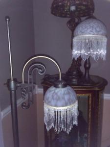 Victorian murano milk glass beaded lamps