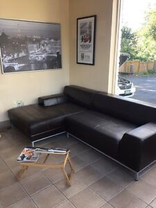 IKEA Leather sectional brown sofa couch