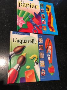 2 beaux livres d'activité: l'aquarelle et le papier