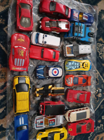 Collection of toy cars. Lightning McQueen, VW Camper, Ferrari