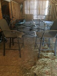 Patio table and chair set.