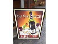 """Large Framed Print of Red Wine and Cheese """"Du Vin Rouge Exceptionnel"""""""
