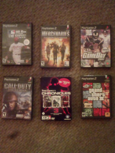 5 PlayStation 2 games and 1 pc game