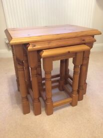 Nest of 3 Tables - Solid Pine - good condition