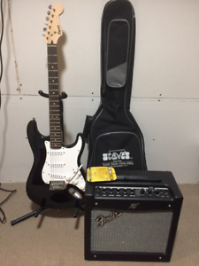 Fender Squire Bullet Strat Guitar with Mustang 1 Amplifier