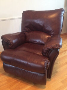 Brown leather chair and couch