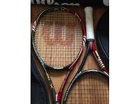 2 x BLX Wilson khamsin 5 tennis rackets with Wilson 6 racket bag