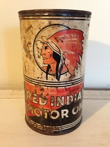 Antique Red Indian motor oil tin can gas advertising