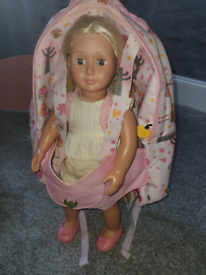 Our generation doll and carry back pack