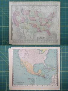 United States Vintage Original 1895 Rand McNally World Atlas Map Lot