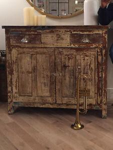 Antiqued solid oak dining hutch cabinet (Scandinavian)