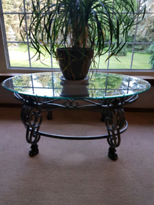 Iron and glass coffee table and end tables