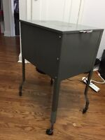 Metal Filing cabinet night stand on wheels $60 416 829-1036