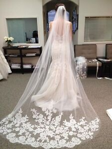 White and ivory lace Cathedral wedding veils