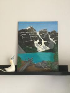 Tableau original en acrylique du Lac Moraine en Alberta