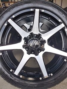4 MONSTER RIMS WITH NEW GOODYEAR FORTERA SL 285/45/22