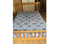 Double pine bed and mattress