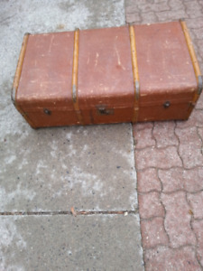Vintage Banded Brown Steamer Trunk Travel Chest