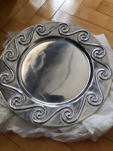Pewter serving display tray, NEW