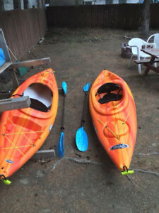Two kayaks incl. oars with roof rack attachment