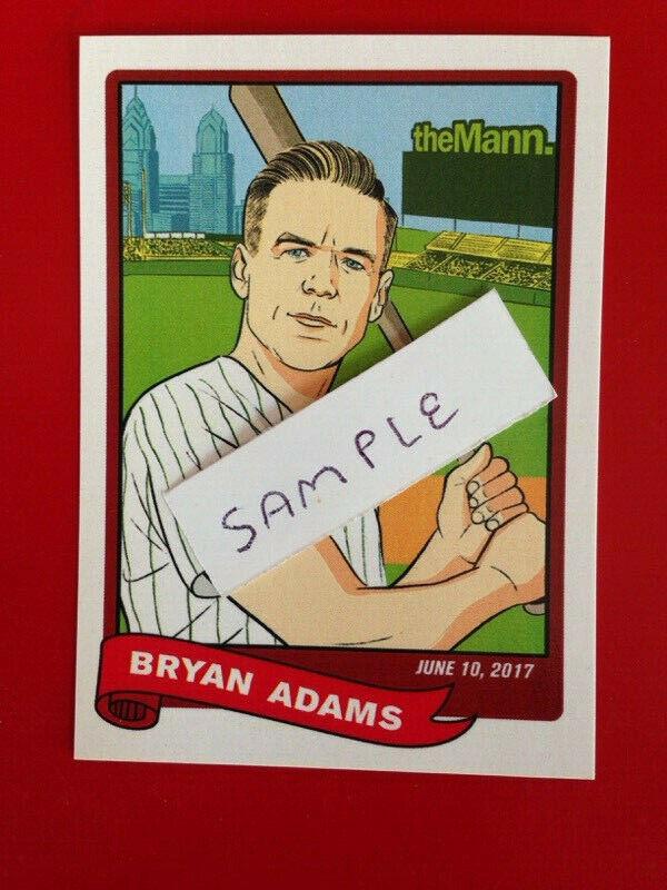 BRYAN ADAMS -2017  CONCERT BASEBALL  CARD