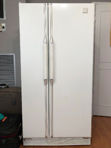 "Whirlpool 33"" side-by-side white refrigerator"