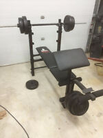 Weider Barbell Bench with 96 lb Weight Set