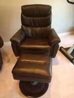Dark Brown recliner with ottoman. $225 OBO.  360 degrees