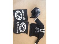 Boys rugby shoulder pads and head protection
